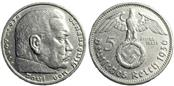 GERMAN Silver Coin 1936 5 REICHS